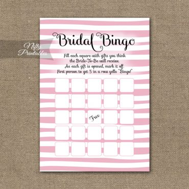 Bridal Shower Bingo Game - Pink Drawn Stripe