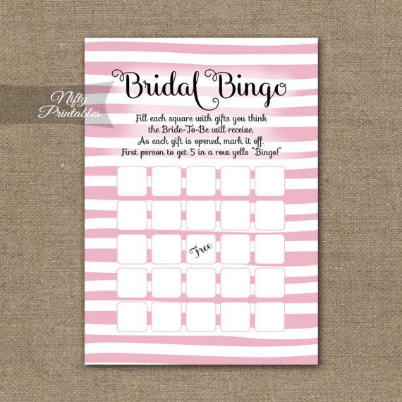 Bridal Shower Bingo Game - Pink Drawn Stripe