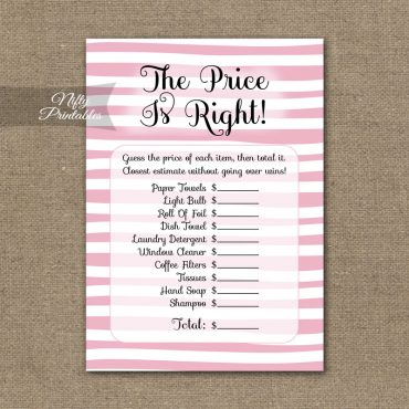 Price Is Right Bridal Shower Game - Pink Drawn Stripe