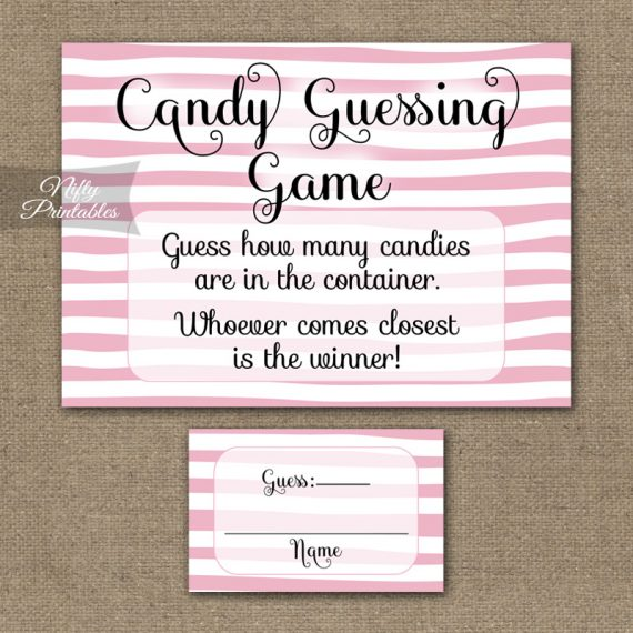 Candy Guessing Game - Pink Drawn Stripe