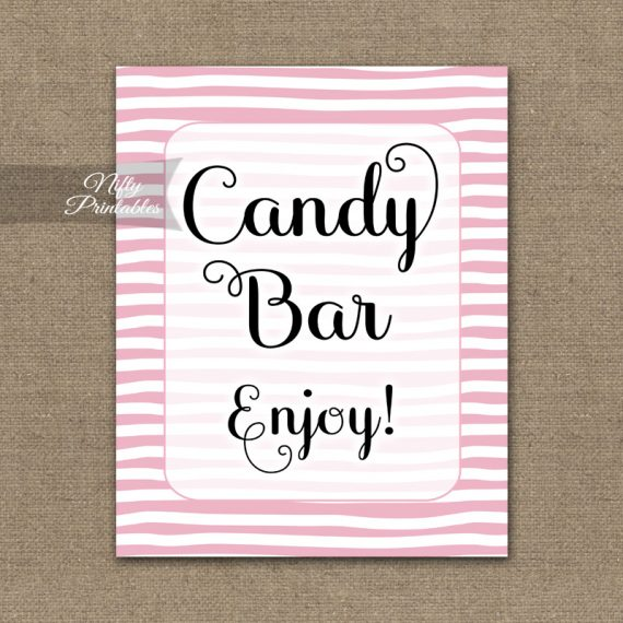 Candy Buffet Sign - Pink Drawn Stripe