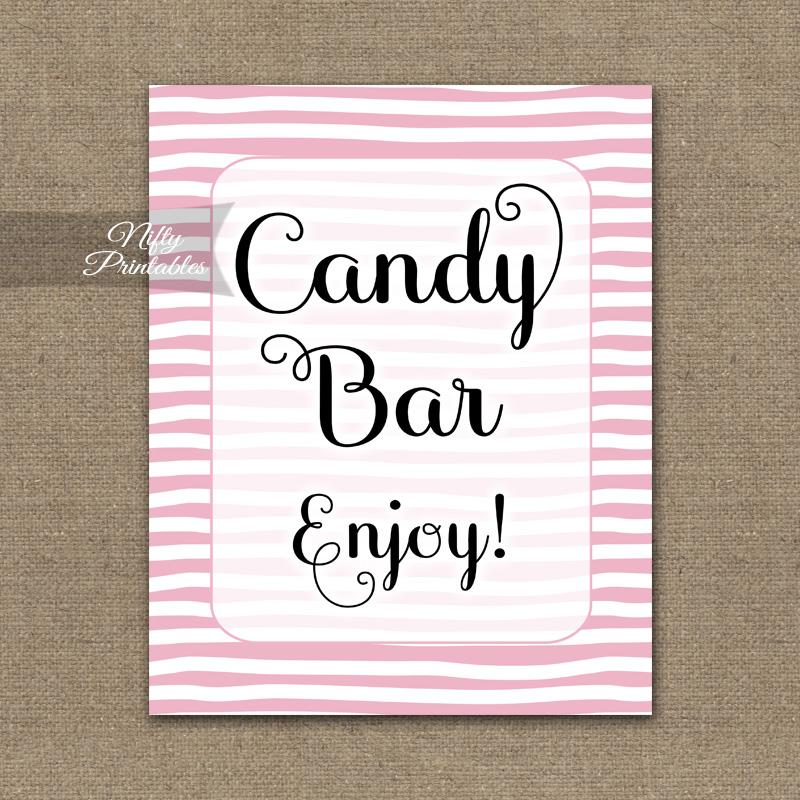 Candy Buffet Sign - Pink Drawn Stripe
