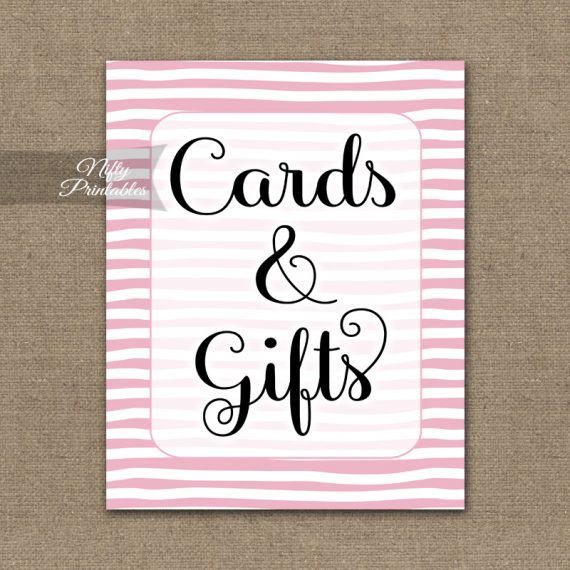 Cards & Gifts Sign - Pink Drawn Stripe