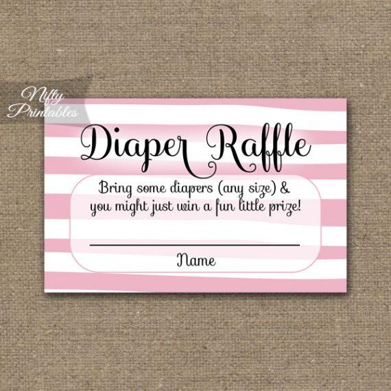 Diaper Raffle Baby Shower - Pink Drawn Stripe
