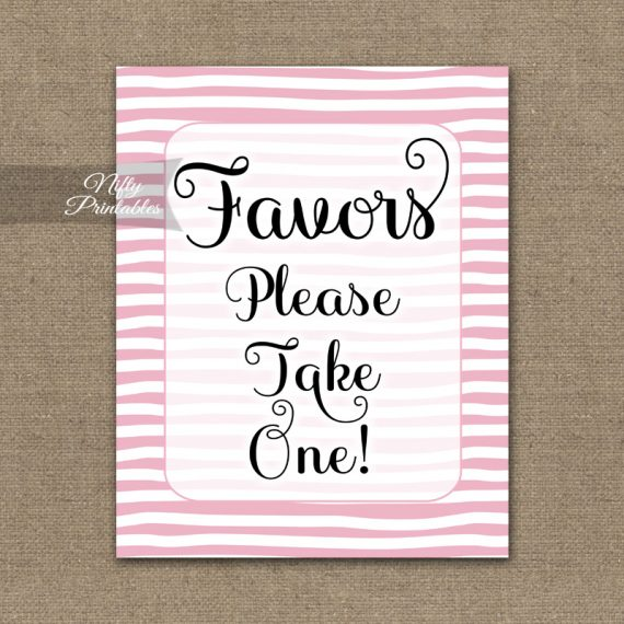 Favors Sign - Pink Drawn Stripe