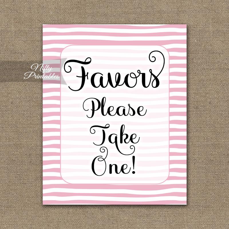 Favors Sign - Pink Drawn Stripe