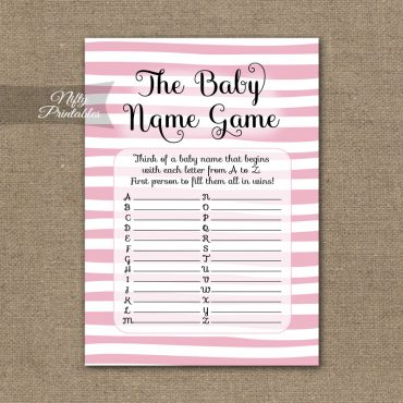 Name Game Baby Shower - Pink Drawn Stripe