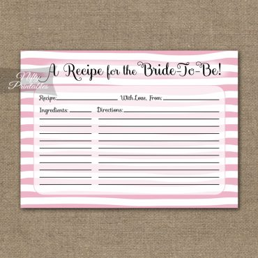 Bridal Shower Recipe Cards - Pink Drawn Stripe