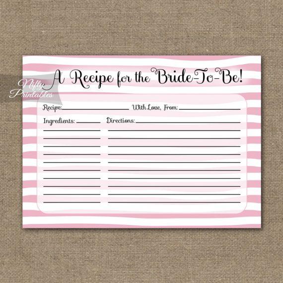 Bridal Shower Recipe Cards - Pink Drawn Stripe