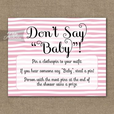 Don't Say Baby Shower Game - Pink Drawn Stripe