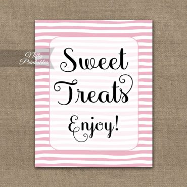 Sweet Treats Dessert Sign - Pink Drawn Stripe