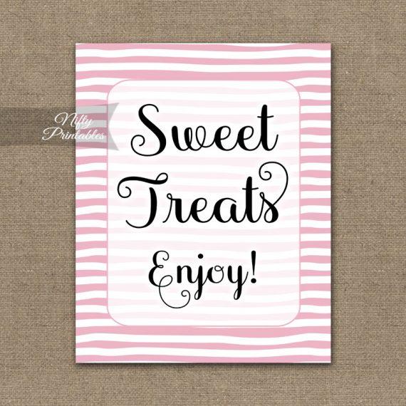 Sweet Treats Dessert Sign - Pink Drawn Stripe
