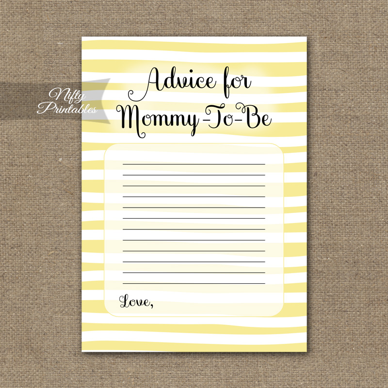 Advice For Mommy Baby Shower Game - Yellow Drawn Stripe
