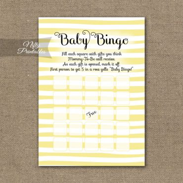 Baby Shower Bingo Game - Yellow Drawn Stripe