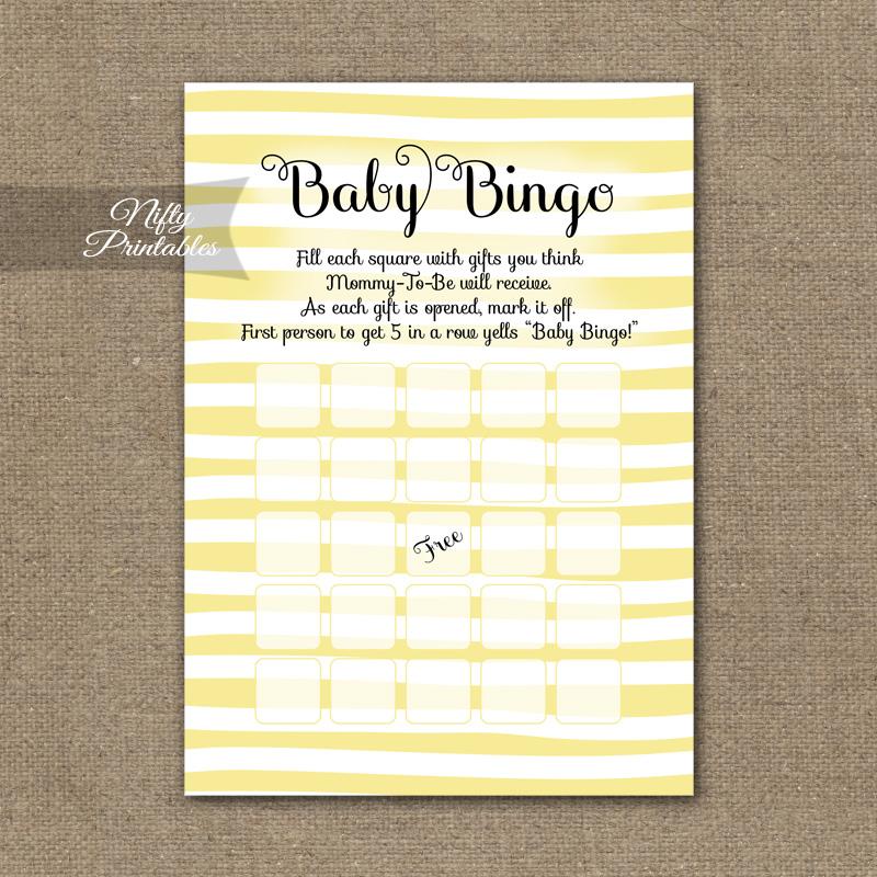 photo relating to Baby Bingo Printable named Little one Shower Bingo Activity - Yellow Drawn Stripe