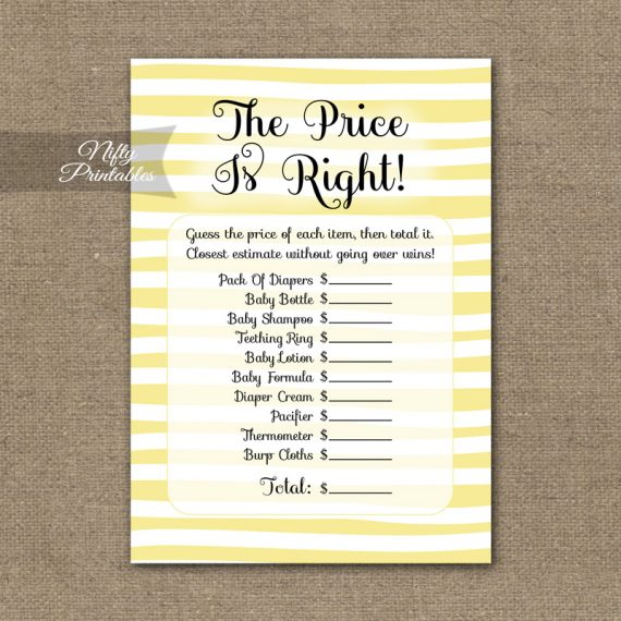 Price Is Right Baby Shower Game - Yellow Drawn Stripe
