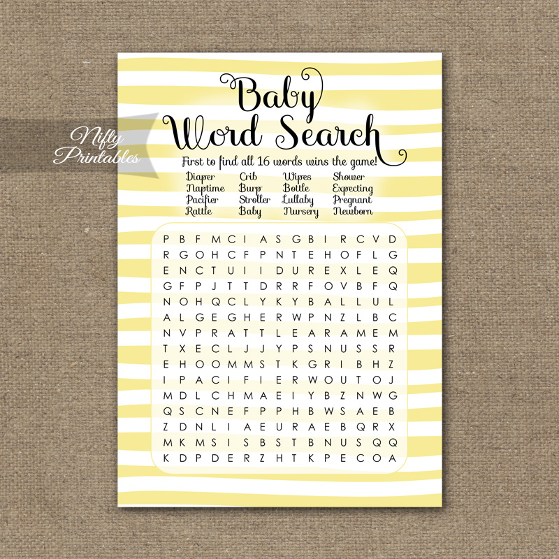 Baby Shower Word Search Game - Yellow Drawn Stripe
