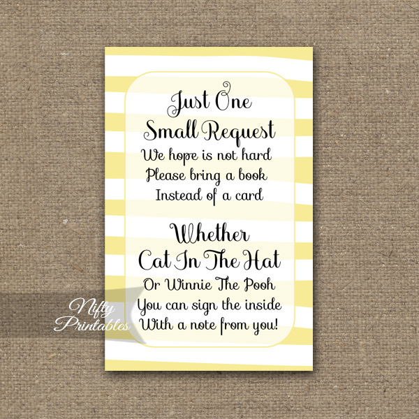Bring A Book Baby Shower Insert - Yellow Drawn Stripe