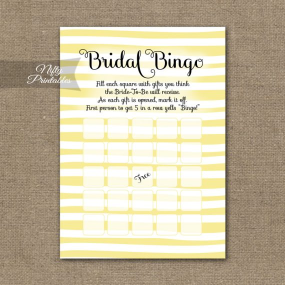Bridal Shower Bingo Game - Yellow Drawn Stripe