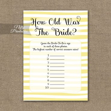 How Old Is The Bride Shower Game - Yellow Drawn Stripe