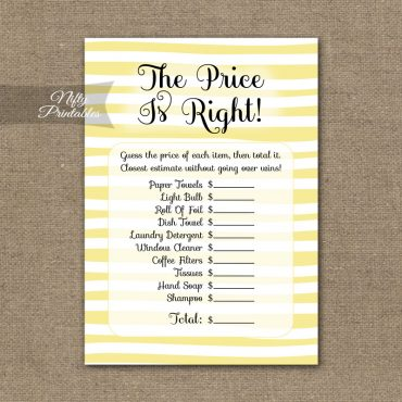 Price Is Right Bridal Shower Game - Yellow Drawn Stripe