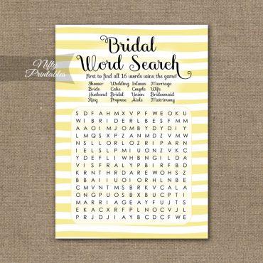 Bridal Shower Word Search Game - Yellow Drawn Stripe