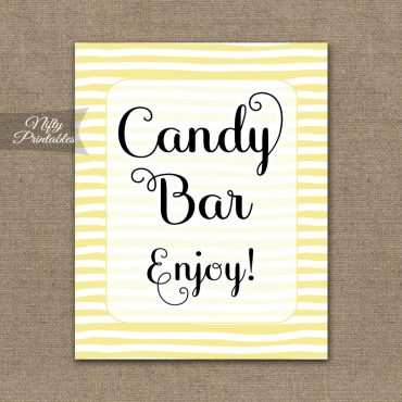 Candy Buffet Sign - Yellow Drawn Stripe