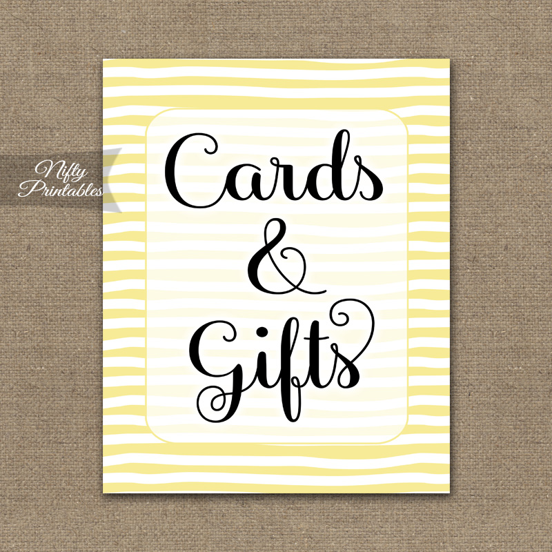 Cards & Gifts Sign - Yellow Drawn Stripe