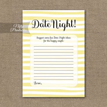Bridal Shower Date Night Ideas - Yellow Drawn Stripe
