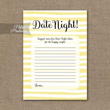 Bridal Shower Date Night Ideas - Yellow Drawn Stripe