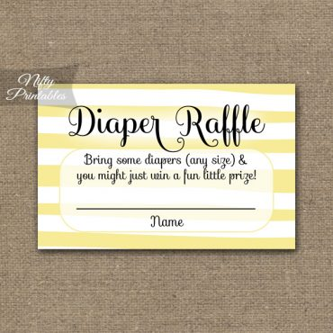 Diaper Raffle Baby Shower - Yellow Drawn Stripe