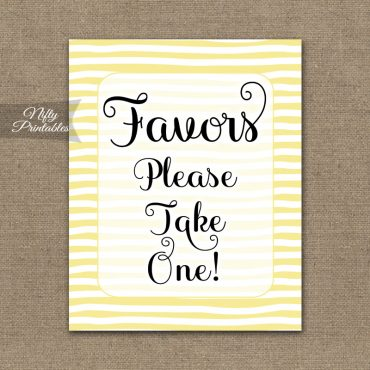 Favors Sign - Yellow Drawn Stripe