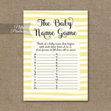 Name Game Baby Shower - Yellow Drawn Stripe