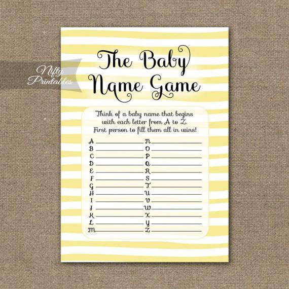 Name Game Baby Shower - Yellow Drawn Stripe