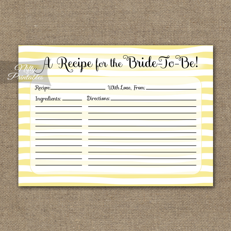 Bridal Shower Recipe Cards - Yellow Drawn Stripe