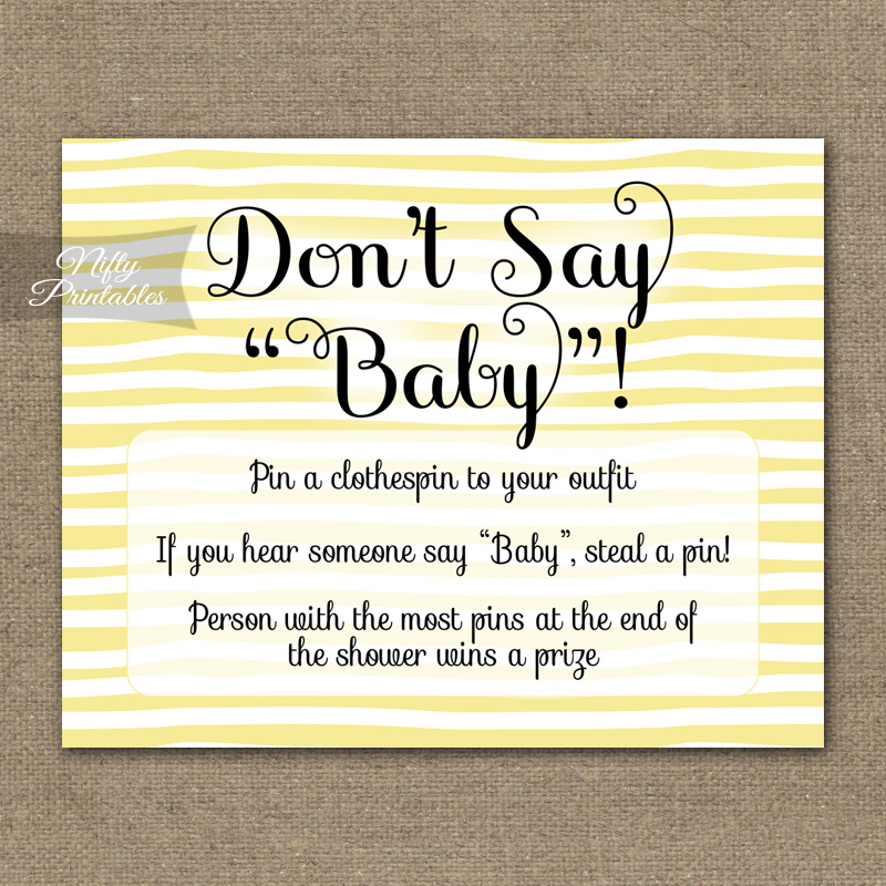 Don't Say Baby Shower Game - Yellow Drawn Stripe