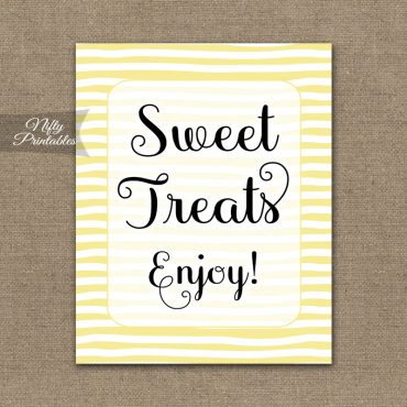 Sweet Treats Dessert Sign - Yellow Drawn Stripe