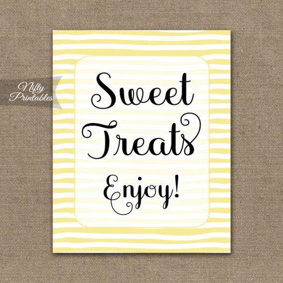 Sweet Treats Dessert Sign - Yellow Drawn Stripe