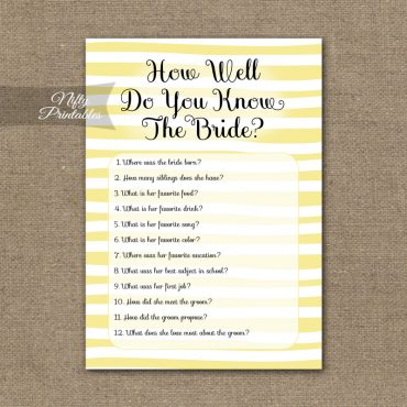 How Well Do You Know The Bride - Yellow Drawn Stripe