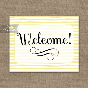 Welcome Sign - Yellow Drawn Stripe