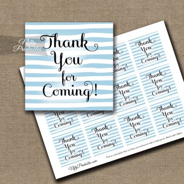 Thank You For Coming Tags - Blue Drawn Stripes