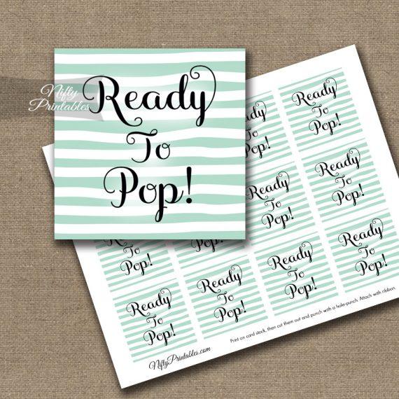 Ready To Pop Tags - Mint Drawn Stripe