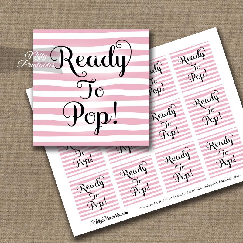 Ready To Pop Tags - Pink Drawn Stripe