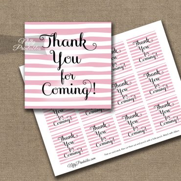 Thank You For Coming Tags - Pink Drawn Stripes