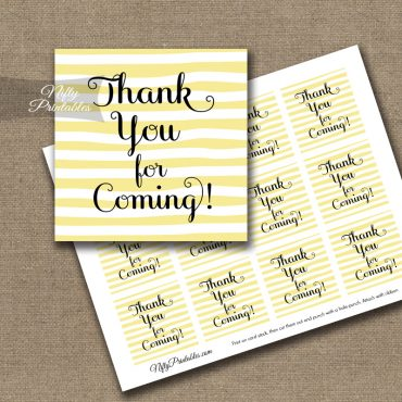 Thank You For Coming Tags - Yellow Drawn Stripes
