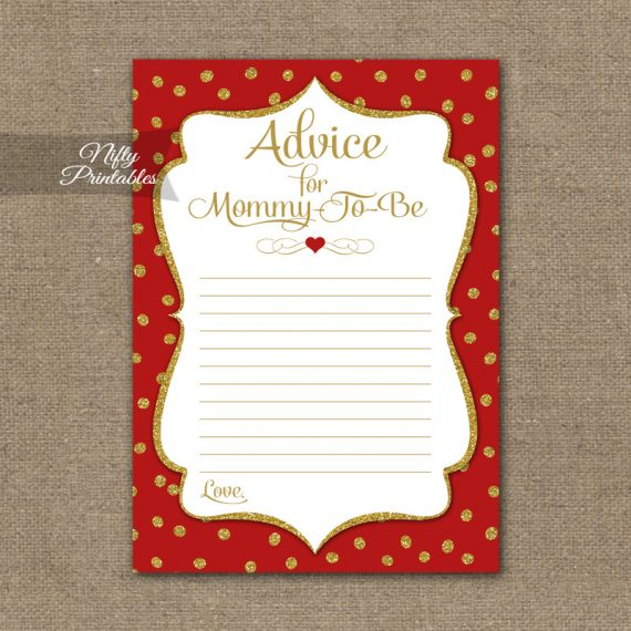 Advice For Mommy Baby Shower Game - Red Gold Holiday