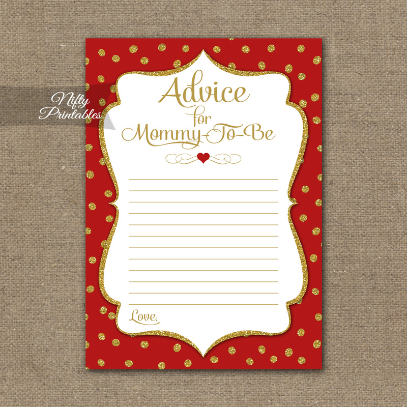 photograph relating to Mommy Advice Cards Printable identified as Assistance For Mommy Little one Shower Video game - Crimson Gold Holiday vacation