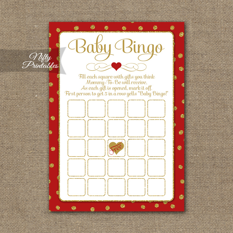 Baby Shower Bingo Game - Red Gold Holiday