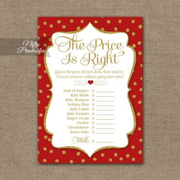 Price Is Right Baby Shower Game - Red Gold Holiday