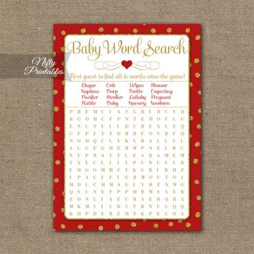 Baby Shower Word Search Game - Red Gold Holiday
